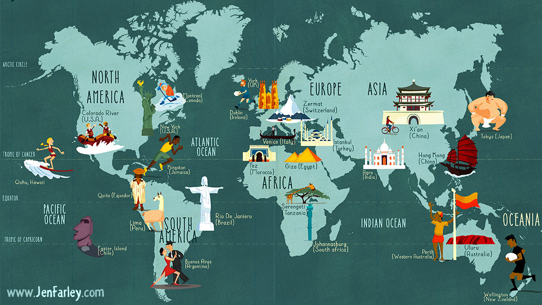 Jennifer Farley illustrator - map of the world