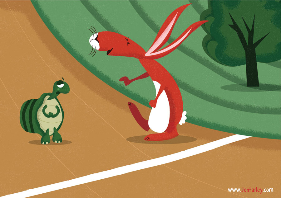 1-Hare-at-start-of-race---illustrated-by-Jennifer-Farley