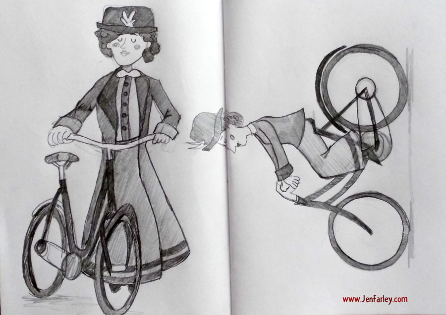 1916-Rising-Sketch2-Women-On-Bicycles-Jen-Farley